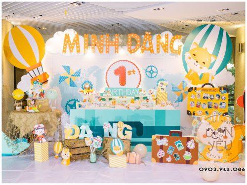 Trang trí sinh nhật chủ đề Khinh Khí Cầu cho bé Minh Đăng