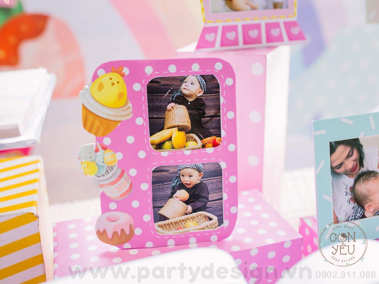 Trang trí bàn Gallery sinh nhật bé Hoàng Cát