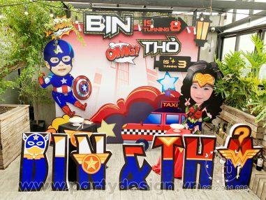 Trang trí sinh nhật Siêu Anh Hùng - Bin & Thỏ