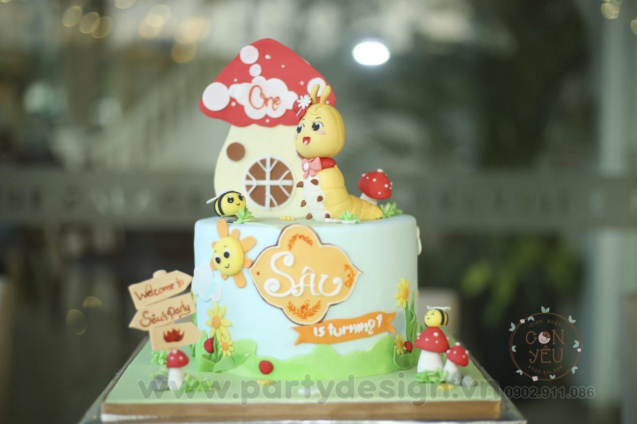 Bánh kem sinh nhật bé gái Sâu