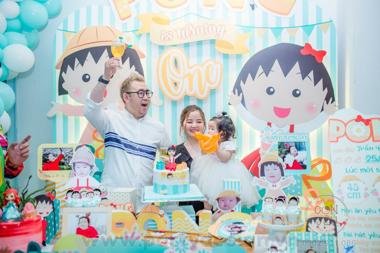 Trang trí sinh nhật bé gái Pong