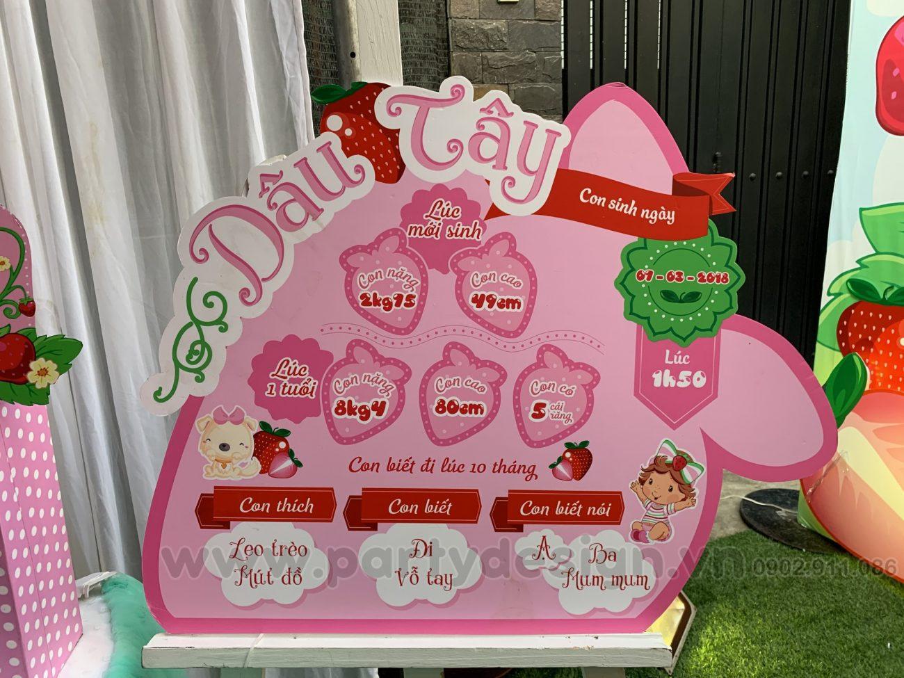 Trang trí sinh nhật chủ đề Dâu cho bé gái