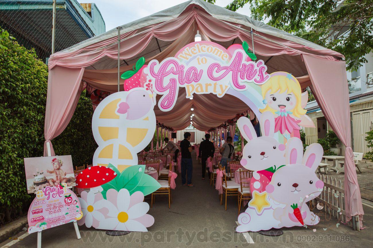 Trang trí sinh nhật bé gái chủ đề Bé Thỏ - Gia Hân