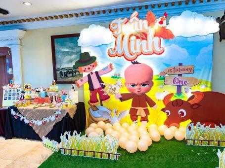 Trang trí sinh nhật bé trai chủ đề Hai Lúa - Tuấn Minh