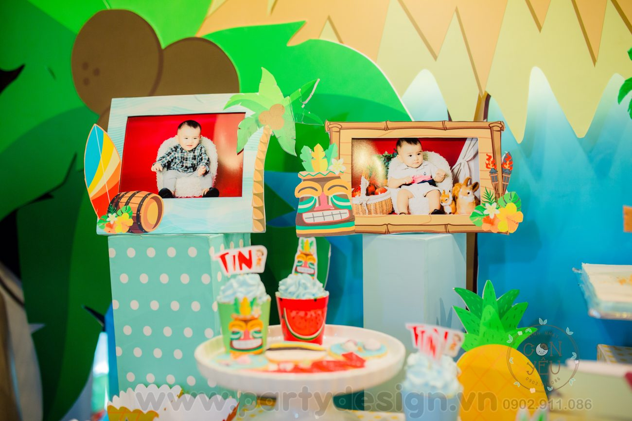 Trang trí sinh nhật bé trai chủ đề Hawail - Tin