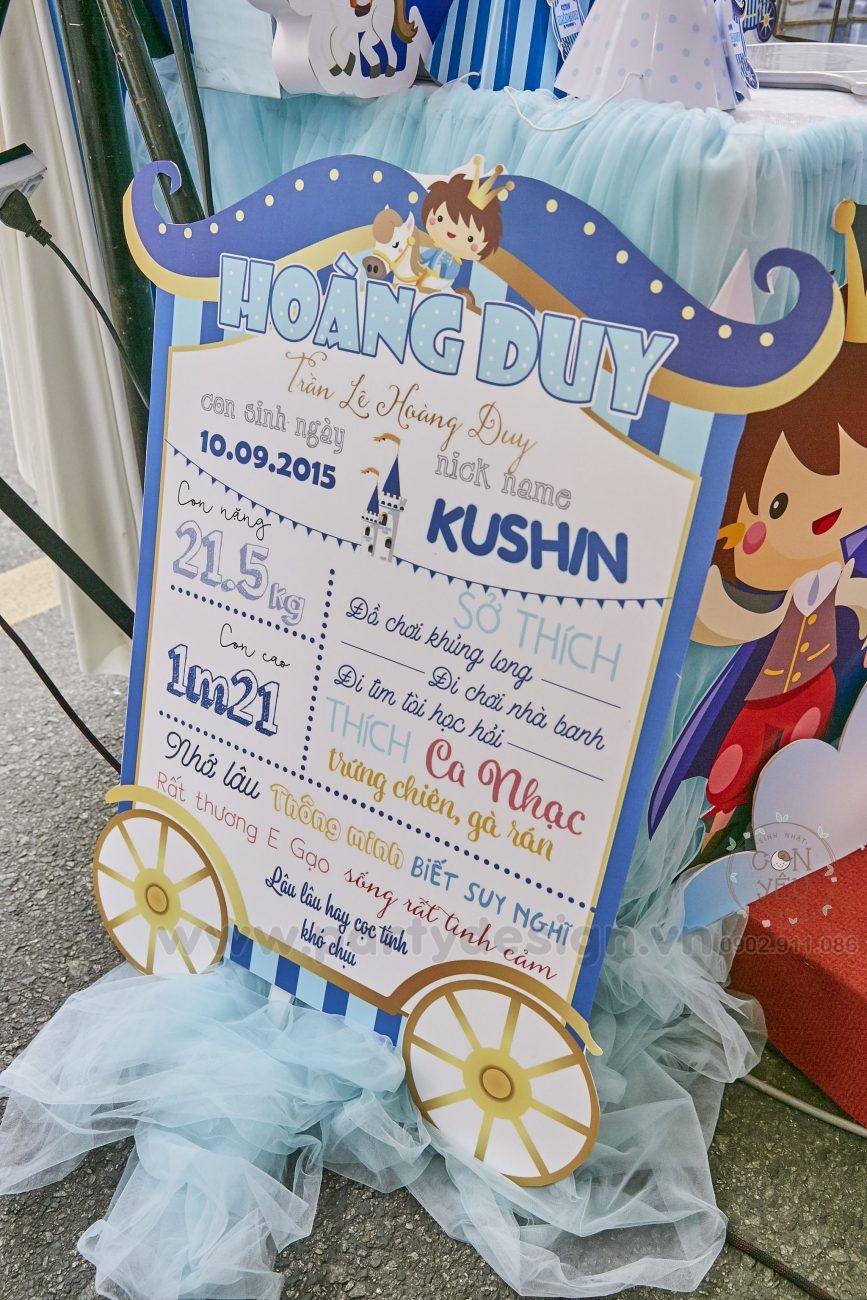 Trang trí sinh nhật bé trai chủ đề Hoàng Tử- Kushin
