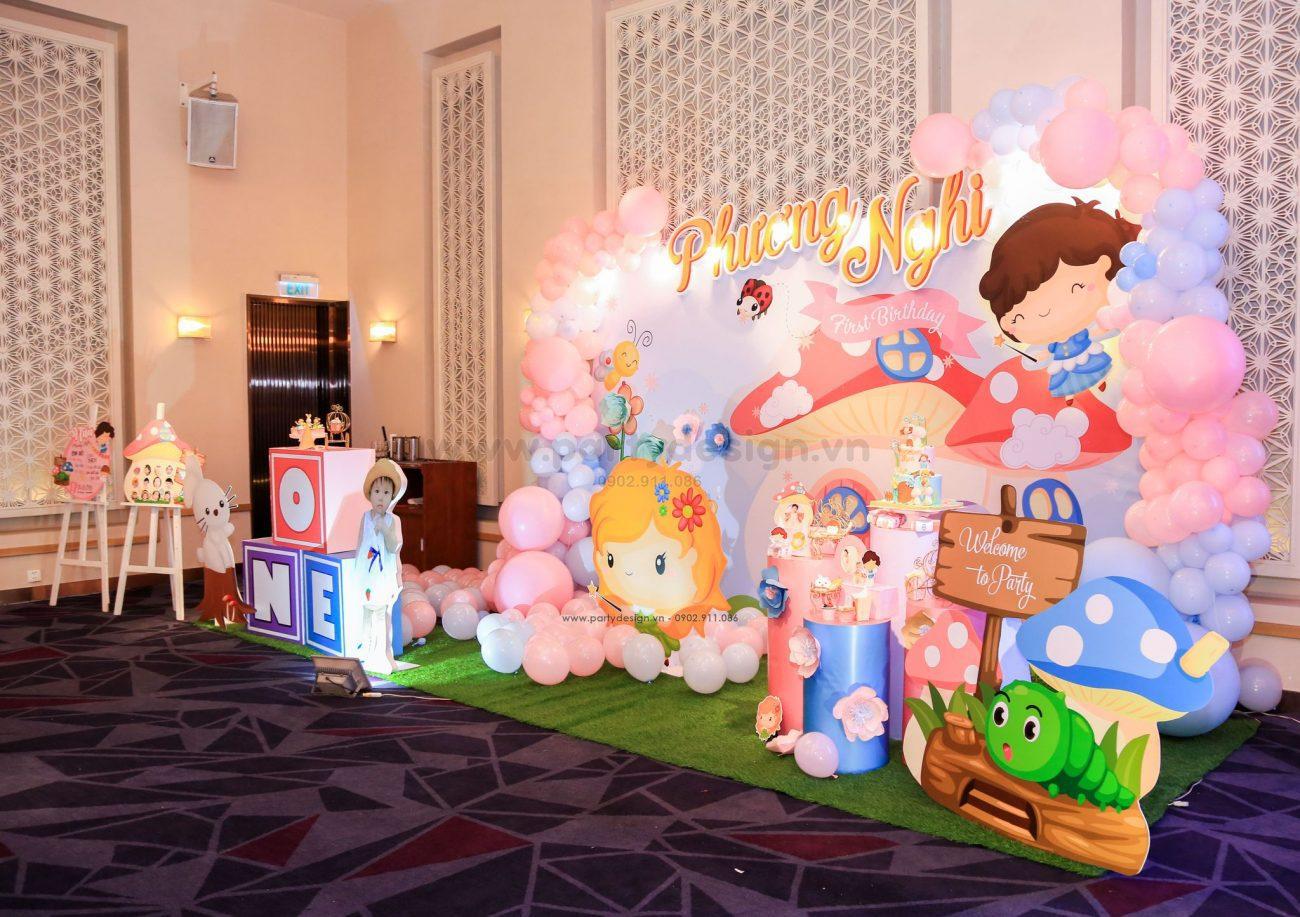 Trang trí sinh nhật chủ đê bé gái khu vườn thiên thần