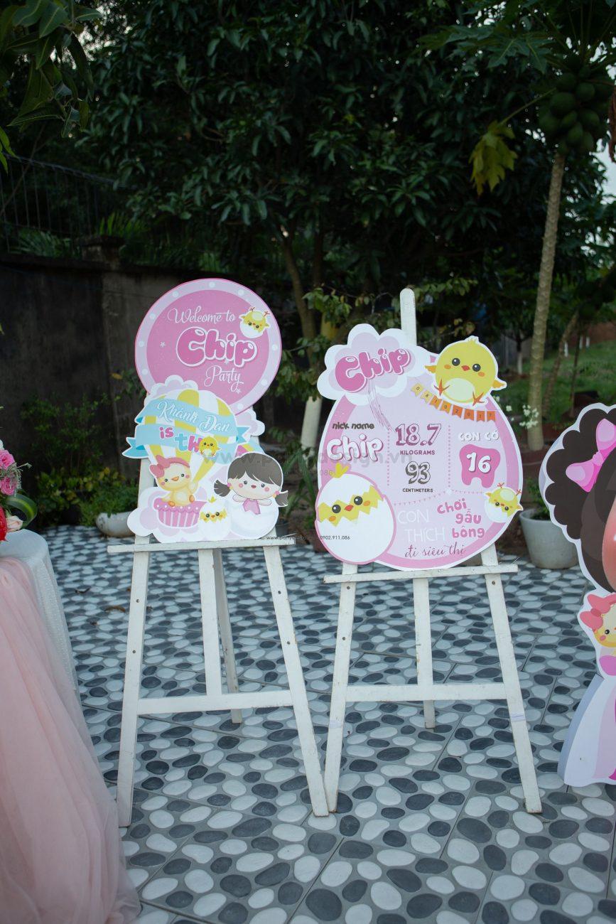 Trang trí sinh nhật chủ đề bé gái và gà con Chip