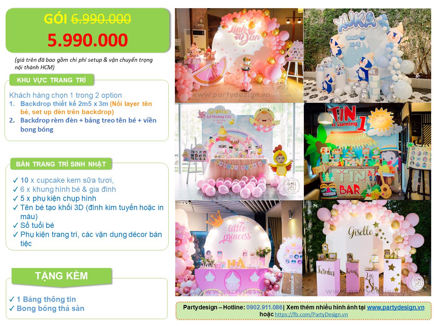 Gói trang trí sinh nhật 5,.990.000