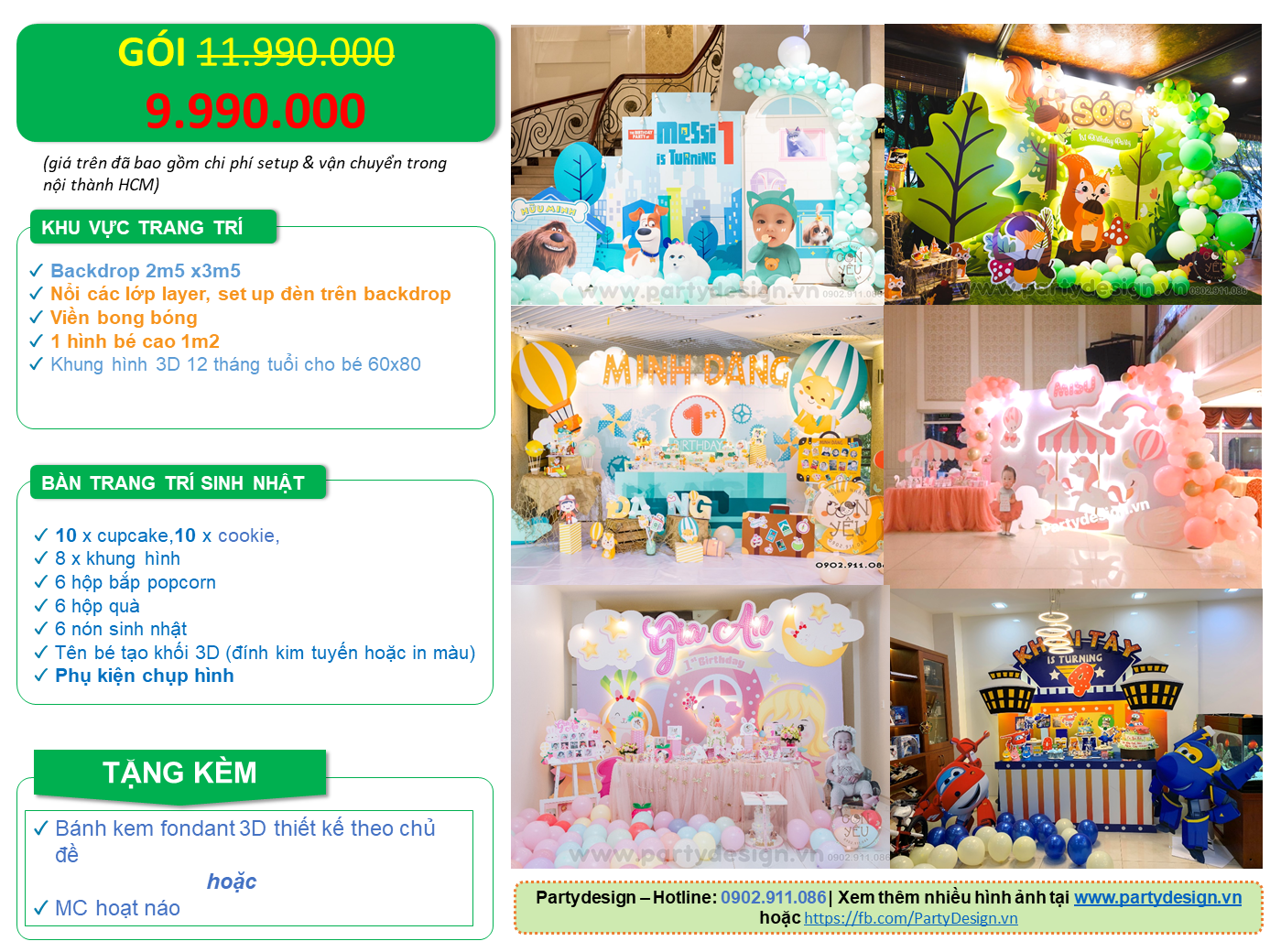 Gói trang trí sinh nhật 9.990.000