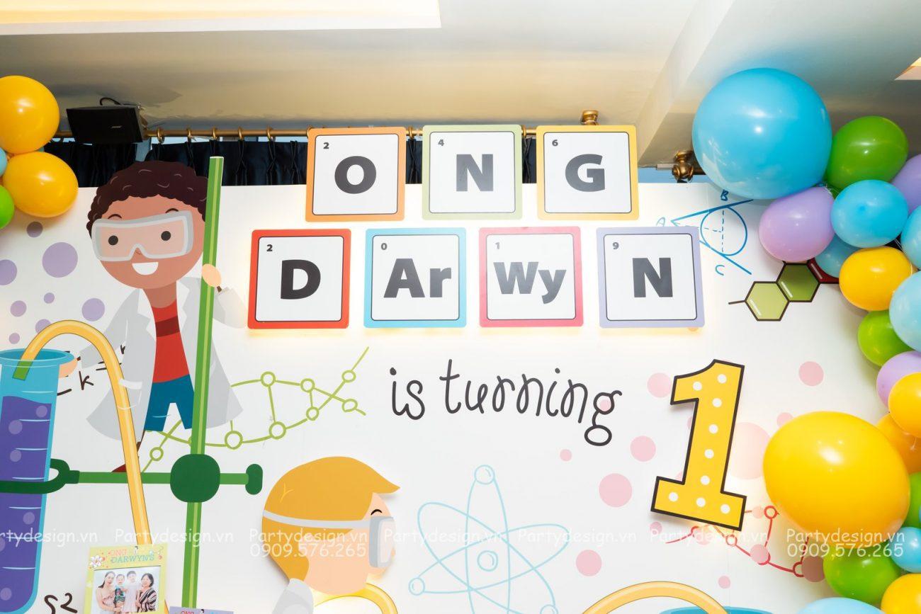 Trang trí sinh nhật - thôi nôi chủ đề khoa học Science bé Darwyn