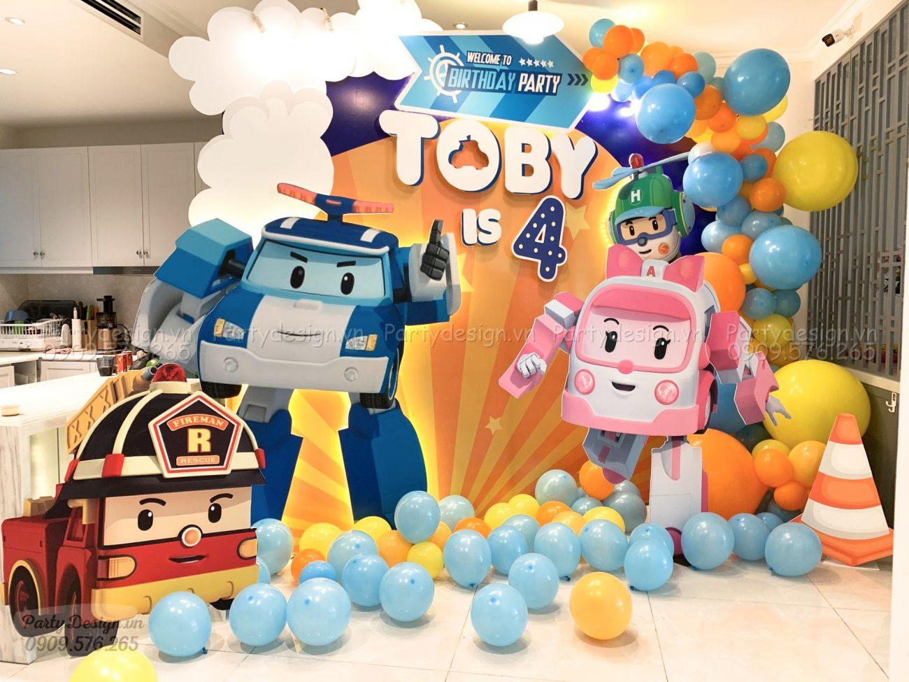Trang trí sinh nhật chủ đề Robocar Poli tại nhà