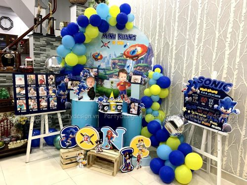 Trang trí sinh nhật tại nhà - bé Sonic