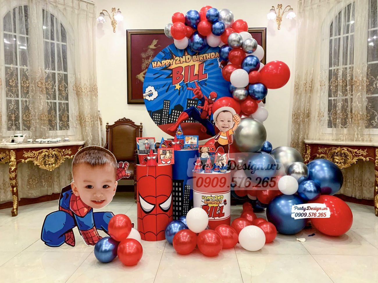Trang trí sinh nhật tại nhà chủ đề Spiderman bé Bill