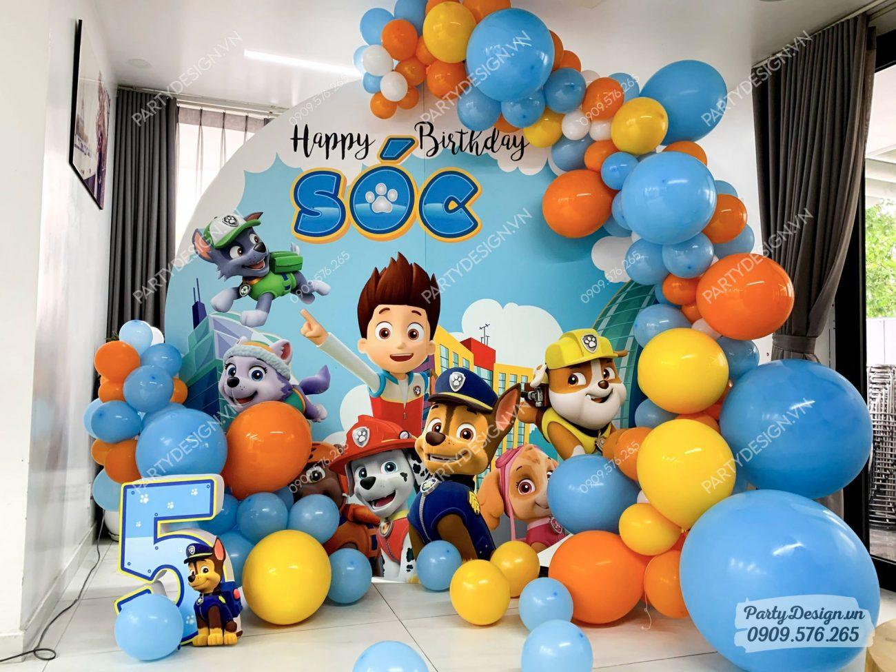 Trang trí sinh nhật tại nhà chủ đề Paw Patrol - bé Sóc.