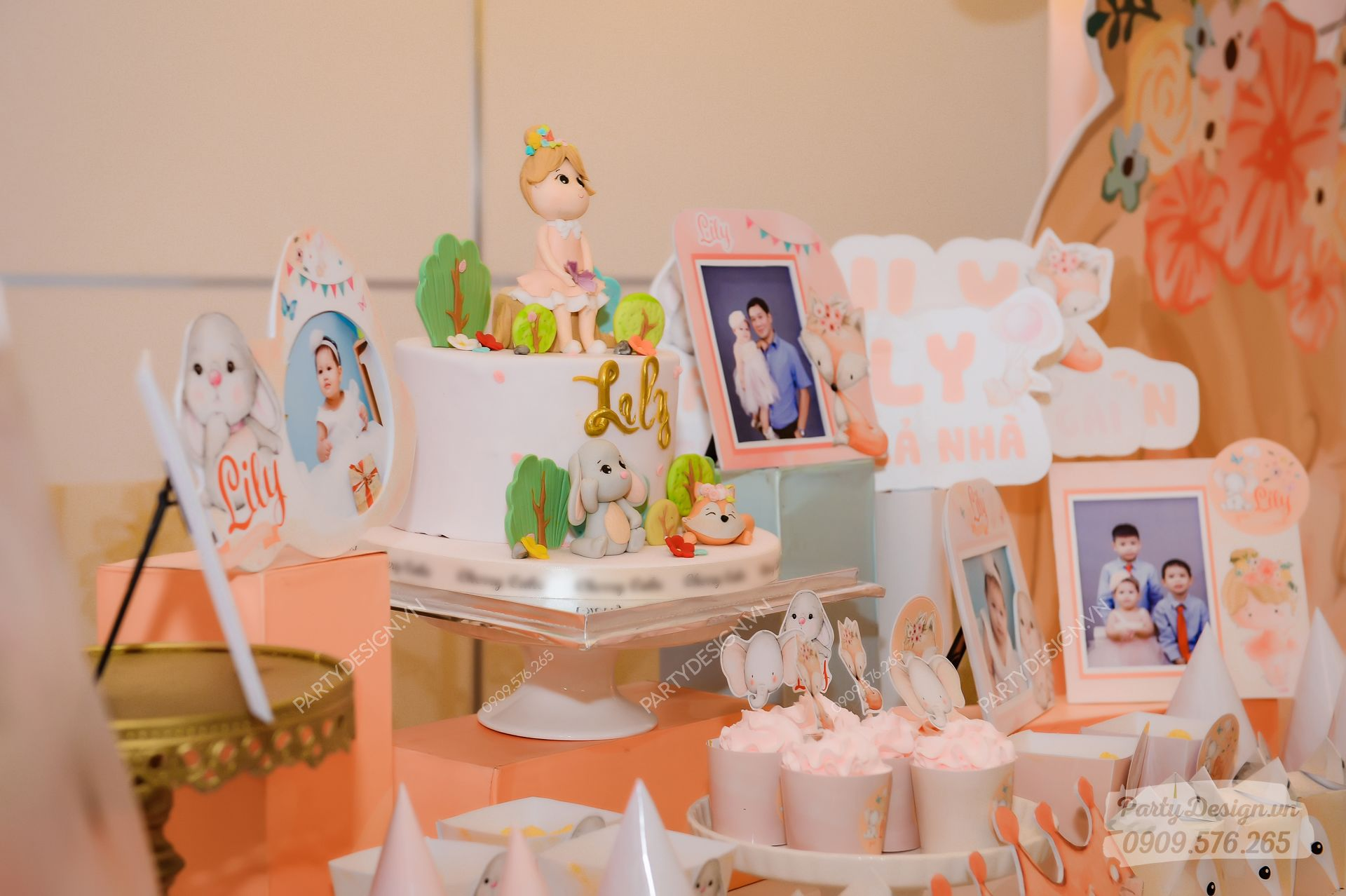 Bàn gallery trang trí sinh nhật chủ đề Công Chúa - bé Lily