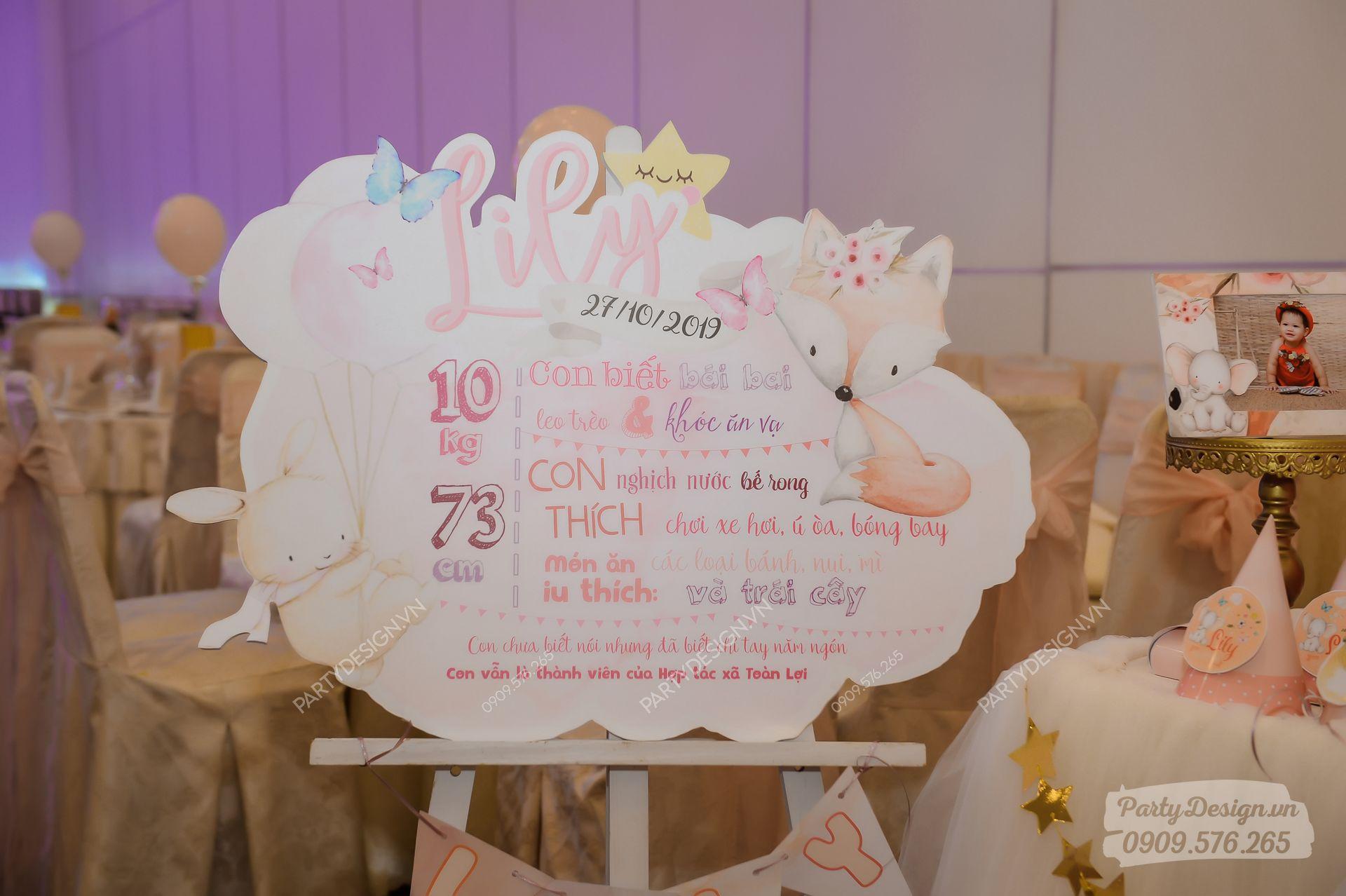 Bảng thông tin thôi nôi sinh nhật chủ đề Công Chúa - bé Lily