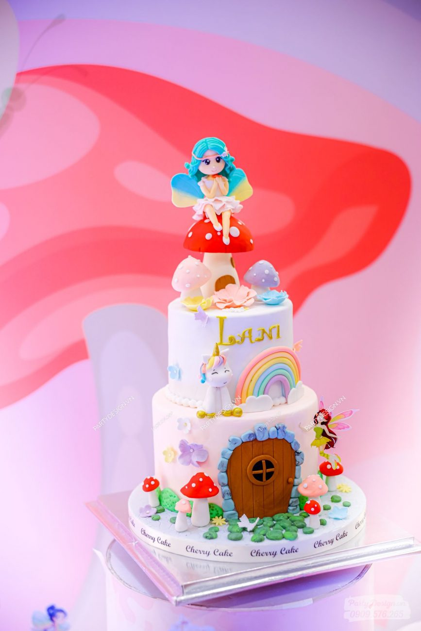 Bánh kem sinh nhật chủ đề Công Chúa & Unicorn