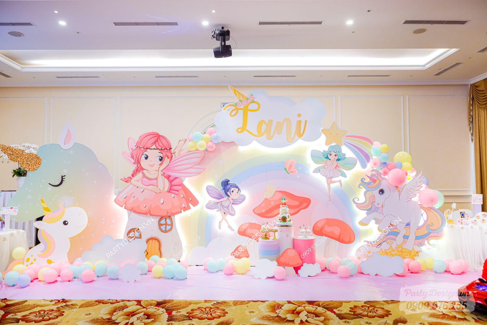 Trang trí sinh nhật chủ đề Công Chúa & Unicorn - bé Lani