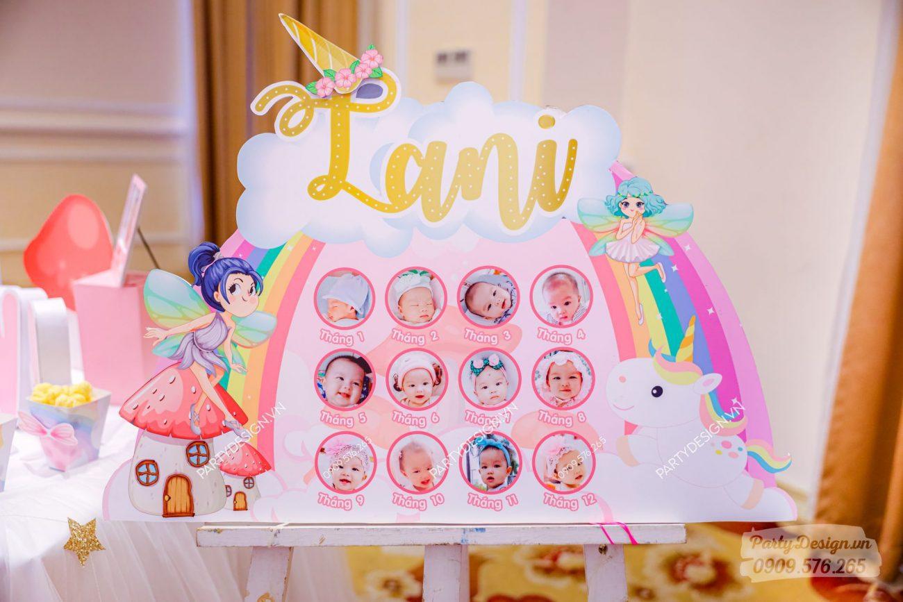 Khung 12 tháng trang trí sinh nhật bé gái Lani