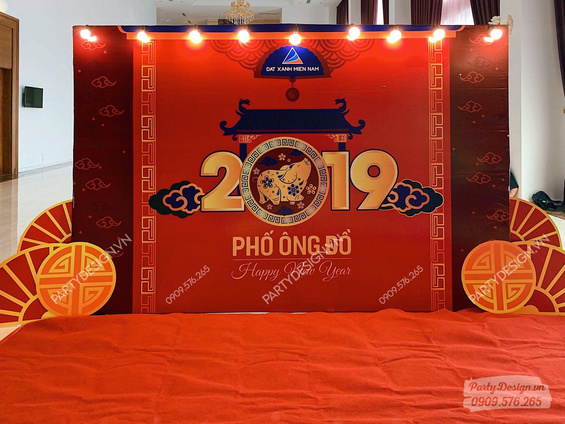 Backdrop trang trí Tết, Year end party & tất niên công ty ĐẤT XANH MIỀN NAM