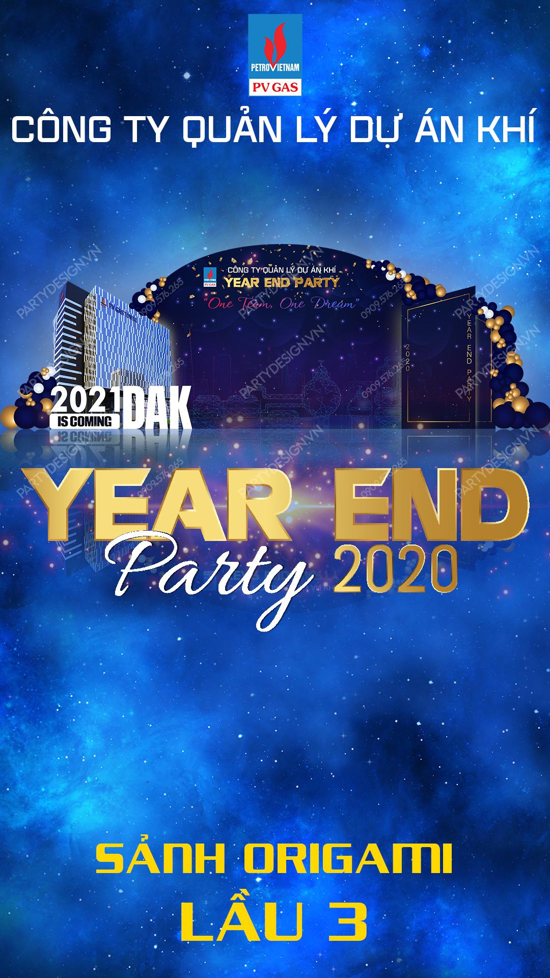 Thiết kế hình ảnh Year End Party chiếu tại sảnh khách sạn, thang máy kích thước dọc 1080 x 1920
