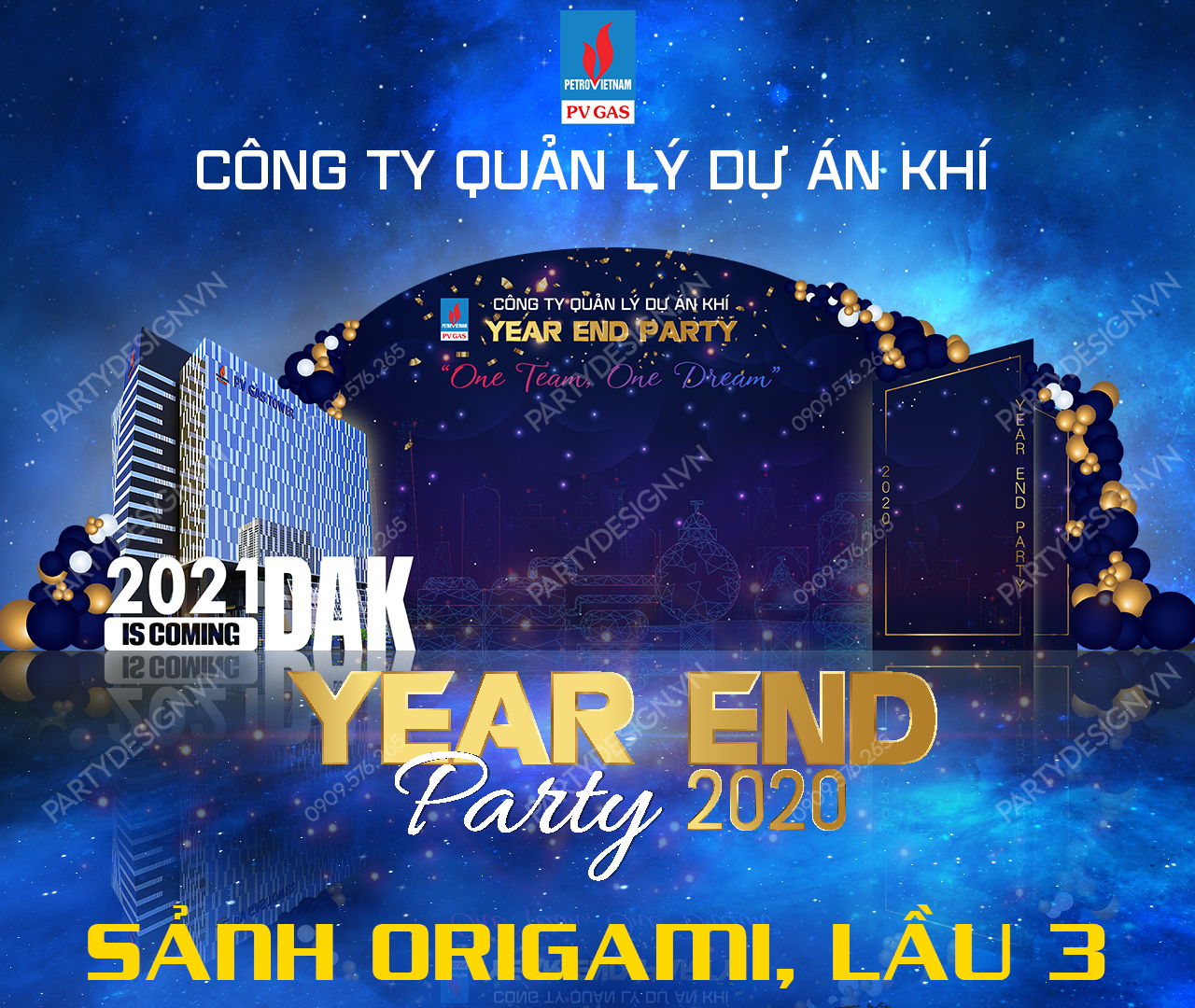 Thiết kế hình ảnh Year End Party chiếu tại sảnh khách sạn, thang máy kích thước 1280 x 1080
