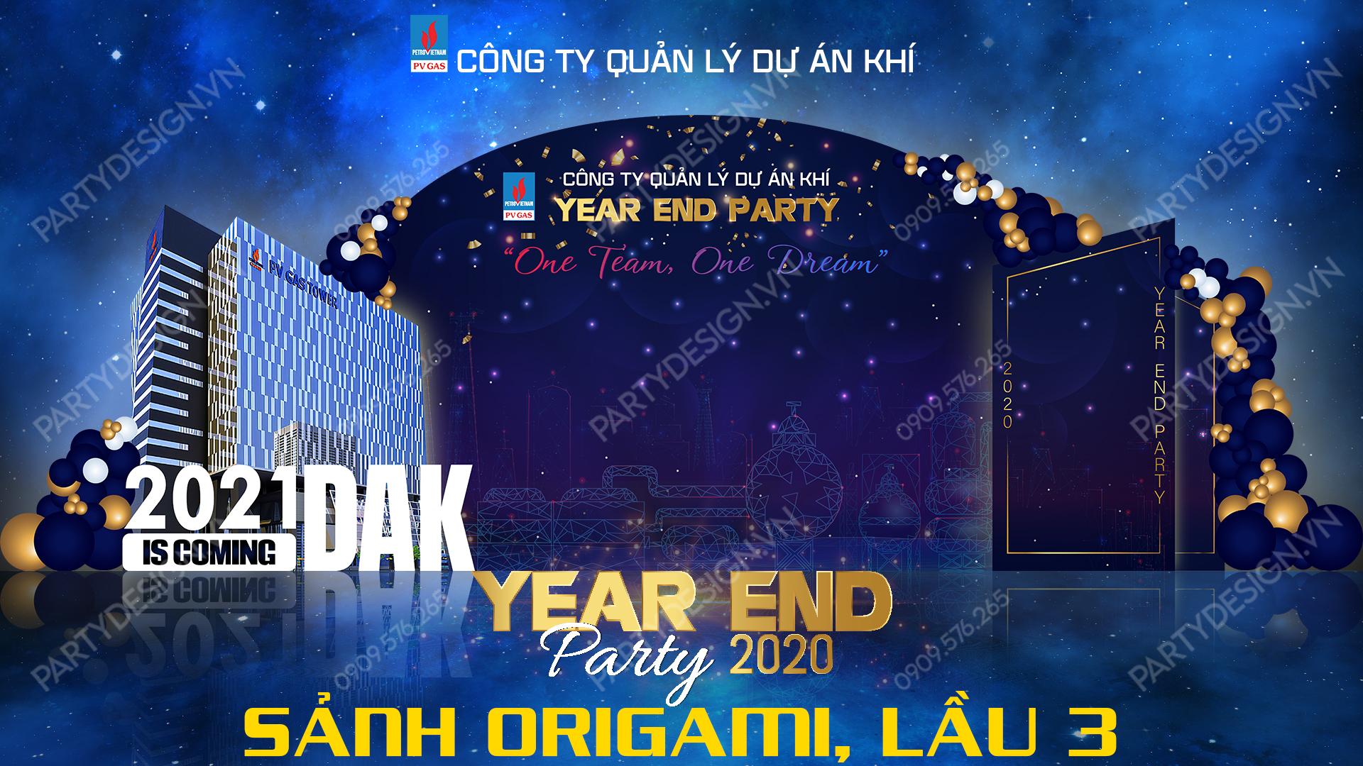 Thiết kế hình ảnh Year End Party chiếu tại sảnh khách sạn, thang máy kích thước 1920 x 1080