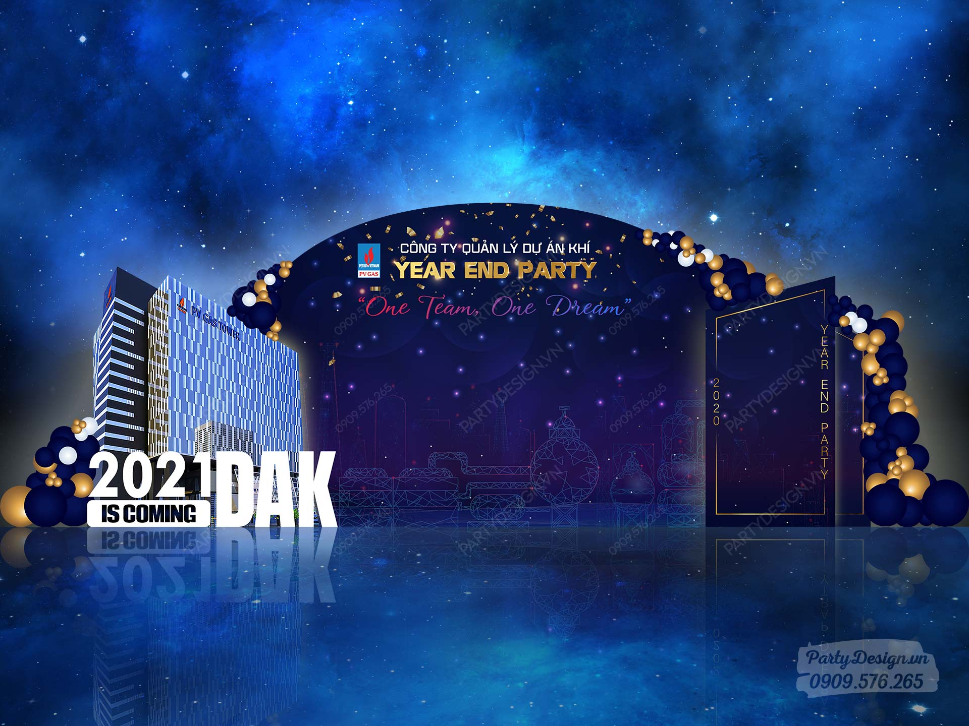 Backdrop trang trí tiệc year end party, tất niên công ty PVI GAS tone xanh blue vàng gold