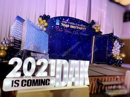 Backdrop trang trí tiệc year end party, tất niên công ty PVI GAS