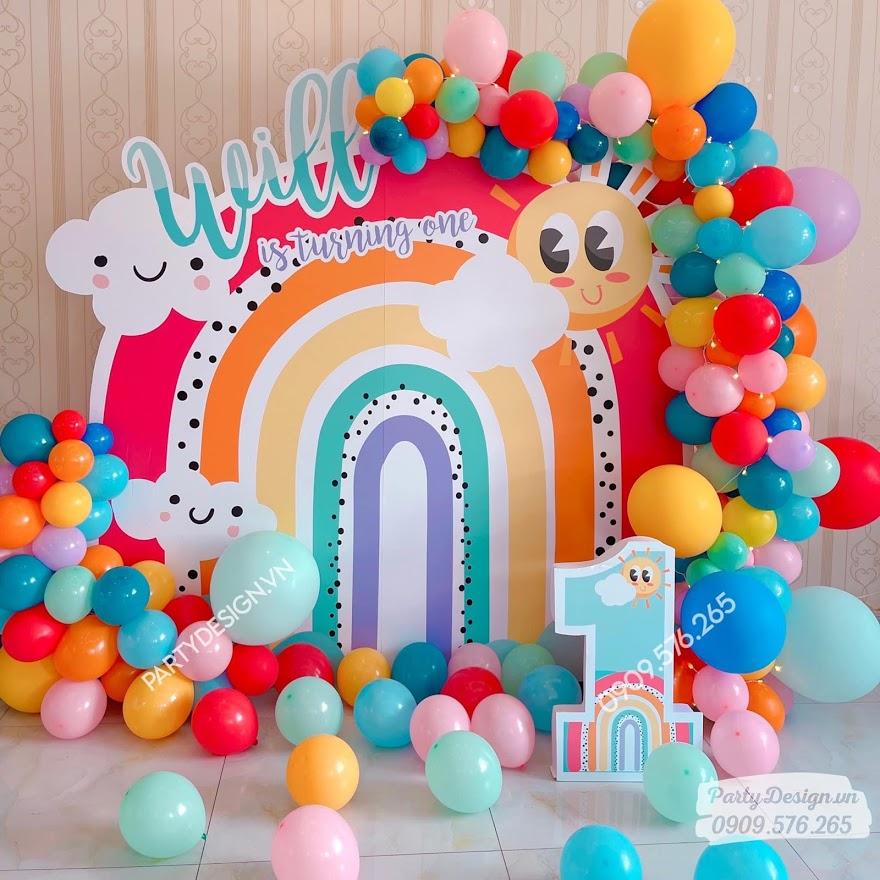 Trang trí sinh nhật chủ đề cầu vồng Boho - sinh nhật tại nhà