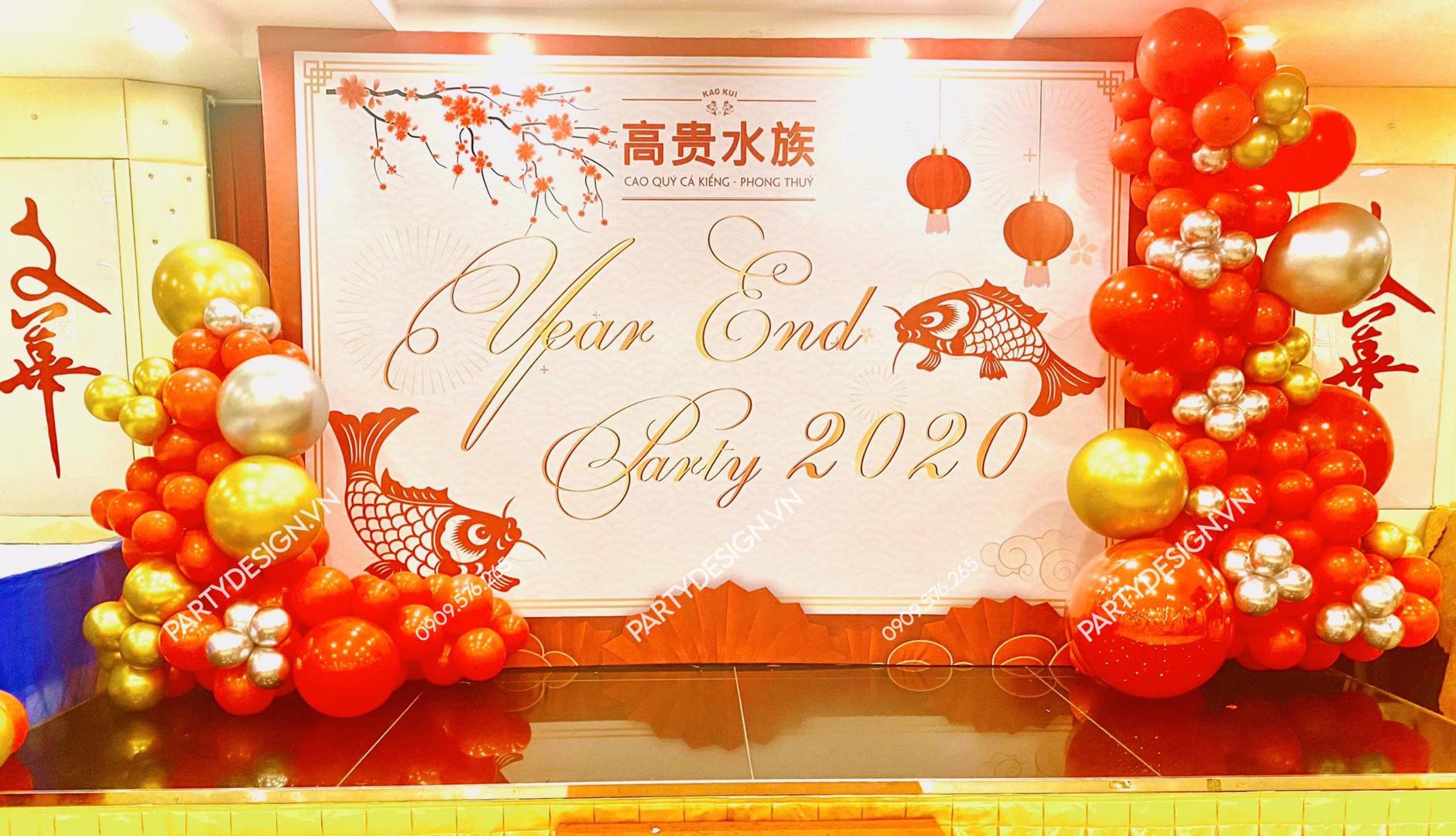 Backdrop Year End Party Tất Niên - cá chép và lồng đèn - phong cách Trung Hoa - Cá Cảnh Cao Quý